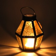 Mini Recycled Iron & Glass Lantern LT170 17 Yellow