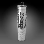 Silver Disco Mirror Cylinder 3 Slim Mirror Cylinder (9cm diameter x 40cm H)