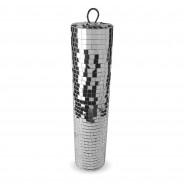 Silver Disco Mirror Cylinder 5 Slim Mirror Cylinder (9cm diameter x 40cm H)