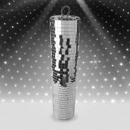 Silver Disco Mirror Cylinder 1 Slim Mirror Cylinder (9cm diameter x 40cm H)