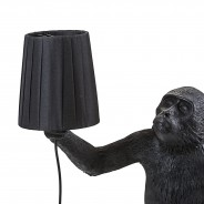 Seletti Black Outdoor Monkey Lamps 6 Standing Monkey with Shade (not included)