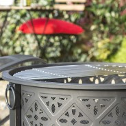 Moresque Deep Steel Fire Pit with Grill 3