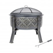 Moresque Deep Steel Fire Pit with Grill 5