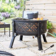 Moresque Deep Steel Fire Pit with Grill 1