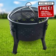 Morroc Fire Pit & BBQ Grill With Rain Cover by Fire & Dine  1