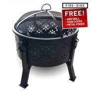 Morroc Fire Pit & BBQ Grill With Rain Cover by Fire & Dine  13