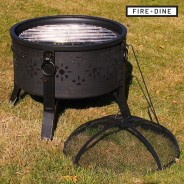Morroc Fire Pit & BBQ Grill With Rain Cover by Fire & Dine  10