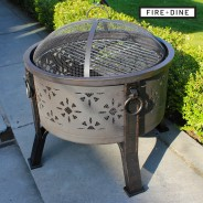 Morroc Fire Pit & BBQ Grill With Rain Cover by Fire & Dine  2 Free BBQ Grill & Poker9