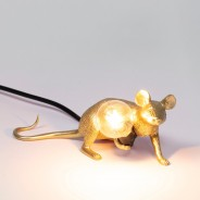 Seletti Gold Mouse Lamp 2 Lie Down