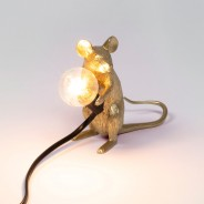 Seletti Gold Mouse Lamp 6 Sitting