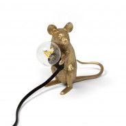 Seletti Gold Mouse Lamp 7 Sitting