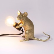 Seletti Gold Mouse Lamp 8 Sitting