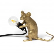 Seletti Gold Mouse Lamp 9 Sitting