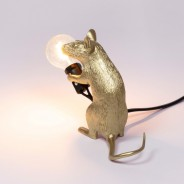 Seletti Gold Mouse Lamp 10 Sitting