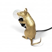Seletti Gold Mouse Lamp 11 Sitting