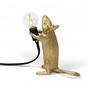Seletti Gold Mouse Lamp 13 Standing
