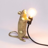 Seletti Gold Mouse Lamp 14 Standing