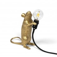 Seletti Gold Mouse Lamp 15 Standing