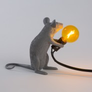 Seletti Grey Mouse Lamp 5 Sitting Mouse