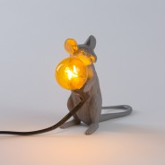 Seletti Grey Mouse Lamp 2 Sitting Mouse