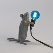 Seletti Grey Mouse Lamp 3 Standing Mouse