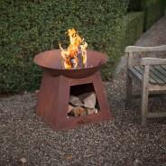 Oxidised Fire Bowl & Woodstore (FF169) 1