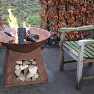 Oxidised Fire Bowl & Woodstore (FF169) 2