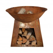 Oxidised Fire Bowl & Woodstore (FF169) 4