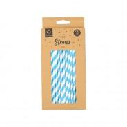 50 x Bright Paper Straws 2 Blue