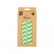 50 x Bright Paper Straws 3 Green