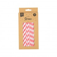 50 x Bright Paper Straws 4 Red