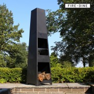 Phoenix Steel Chimenea Fire Pit & BBQ Grill With Rain Cover by Fire & Dine  6