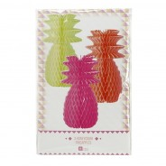 Neon Pineapple Honeycomb Decorations (3 Pack) 5