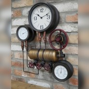 Industrial Styled Pipe Clock with Thermometer & Hygrometer 3