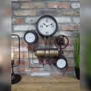Industrial Styled Pipe Clock with Thermometer & Hygrometer 2
