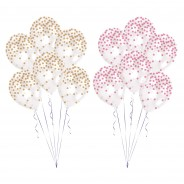 Printed Confetti Balloons (6 pack)  5 Gold & Pink