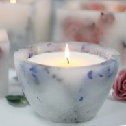 Real Flower & Soy Wax Hurricane Candles 8 Lavender Fields Bowl