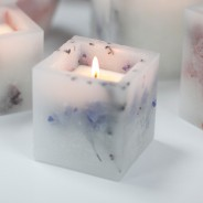 Real Flower & Soy Wax Hurricane Candles 3 Lavender Fields Square