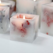 Real Flower & Soy Wax Hurricane Candles 7 Rose Garden Square