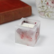 Real Flower & Soy Wax Hurricane Candles 10 Rose Garden Square