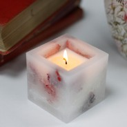 Real Flower & Soy Wax Hurricane Candles 4 Rose Garden Square