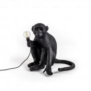 Seletti Black Outdoor Monkey Lamps 1 Sitting