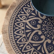 Set of 4 Natural Jute Placemats with Mandala Design 4
