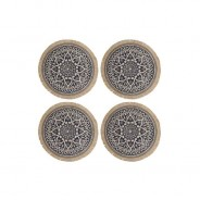 Set of 4 Natural Jute Placemats with Mandala Design 6