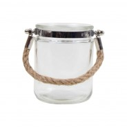 Pair of Silver and Clear Jute Handled Lanterns 3 Clear