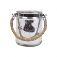 Pair of Silver and Clear Jute Handled Lanterns 4 Silver