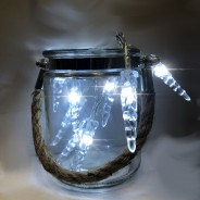 Pair of Silver and Clear Jute Handled Lanterns 2 Fairy lights not included