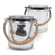 Pair of Silver and Clear Jute Handled Lanterns 1