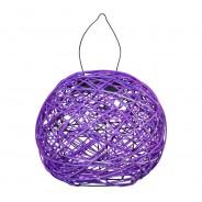 Solar Woven Rattan Lantern 2 Purple