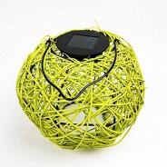Solar Woven Rattan Lantern 3 Lime Green